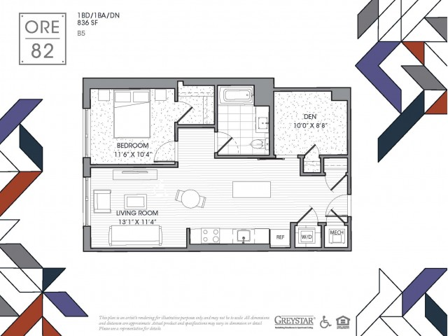 B5 | 1 bed 1 bath | from 838 square feet