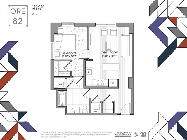 A13 | 1 bed 1 bath | from 731 square feet