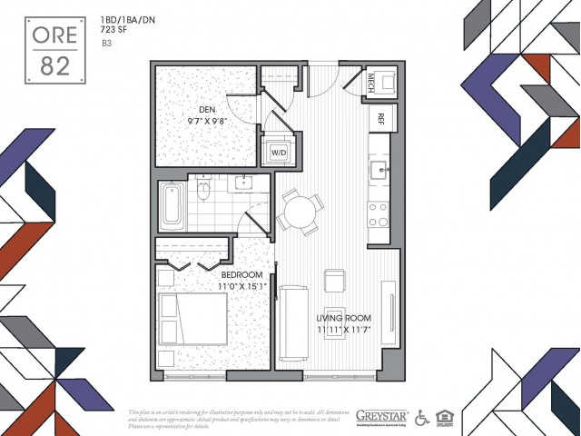 B3 | 1 bed 1 bath | from 723 square feet