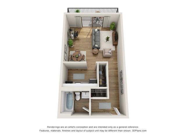 E2 Premium | Studio1 bath | from 364 square feet