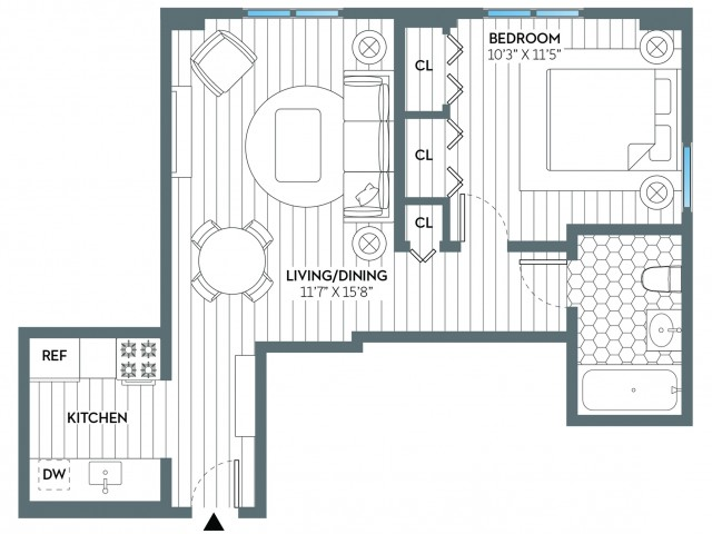Harrison | 1 bed 1 bath | from 583 square feet