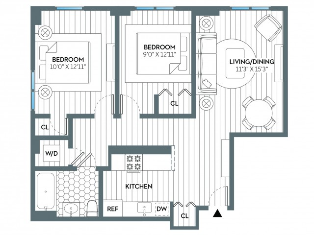 Garden | 2 bed 1 bath | from 796 square feet