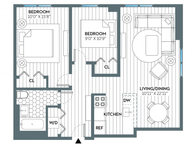 Clinton | 2 bed 1 bath | from 816 square feet