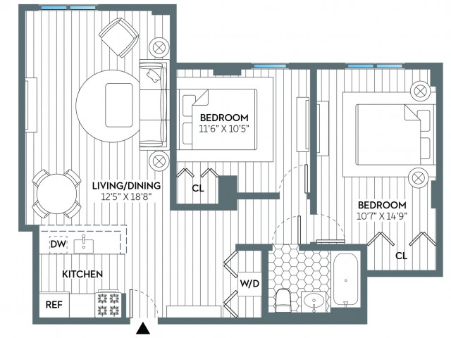 Jefferson | 2 bed 1 bath | from 866 square feet