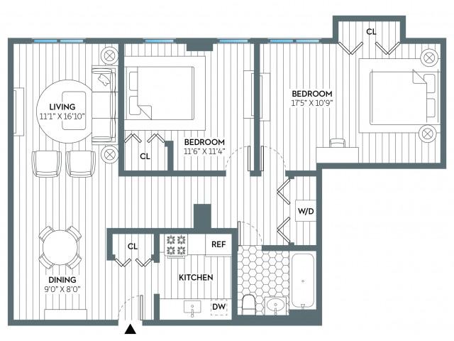Washington | 2 bed 1 bath | from 930 square feet