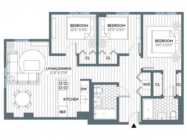 Hudson | 3 bed 2 bath | from 1031 square feet