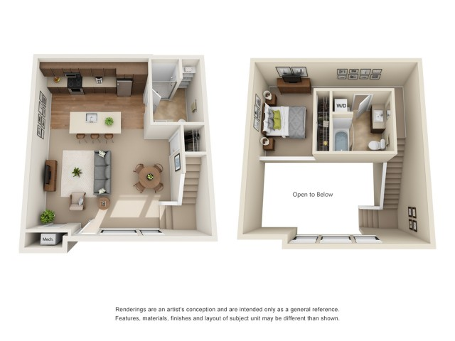 TH1R | 1 bed 2 bath | from 985 square feet