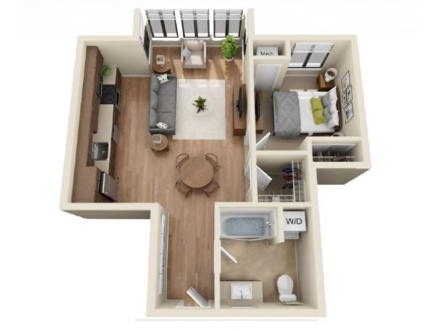 A1 | 1 bed 1 bath | from 628 square feet