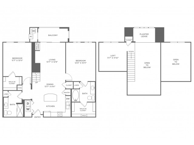 Individuality Loft with Sunroom | 2 bed 2 bath | from 1419 square feet