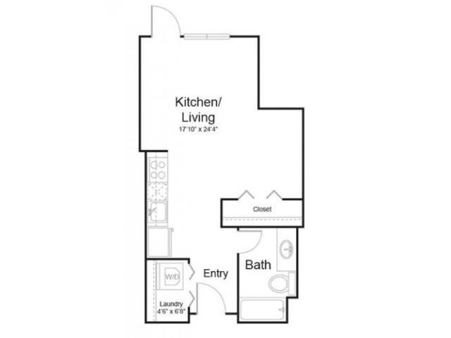 0f1 | Studio1 bath | from 537 square feet