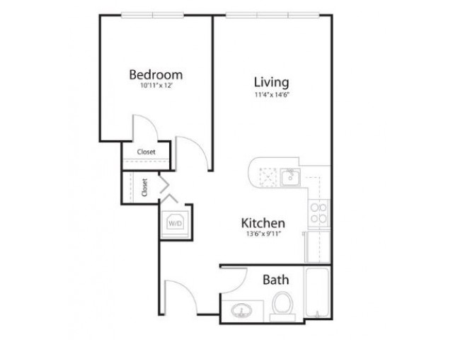 1u1 | 1 bed 1 bath | from 695 square feet