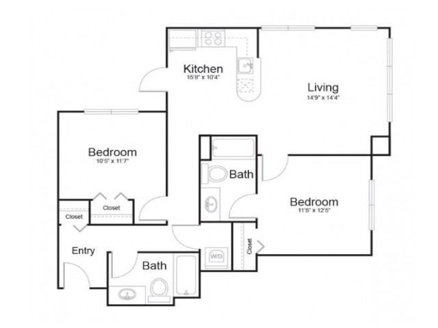 2c2 | 2 bed 2 bath | from 968 square feet