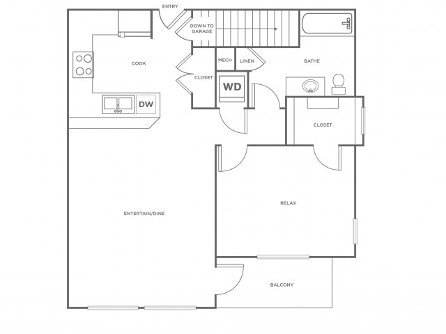A2 | 1 bed 1 bath | from 792 square feet
