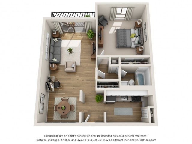 A2 Premium | 1 bed 1 bath | from 660 square feet