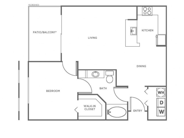 A1P | 1 bed 1 bath | from 816 square feet