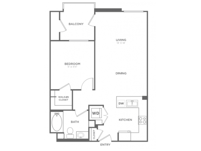 A2   1 bed 1 bath   from 760 square feet