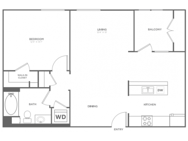 A4   1 bed 1 bath   from 866 square feet