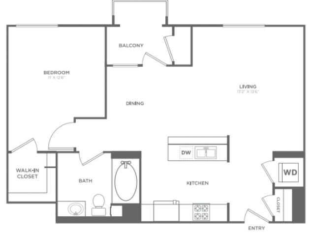 A5   1 bed 1 bath   from 809 square feet