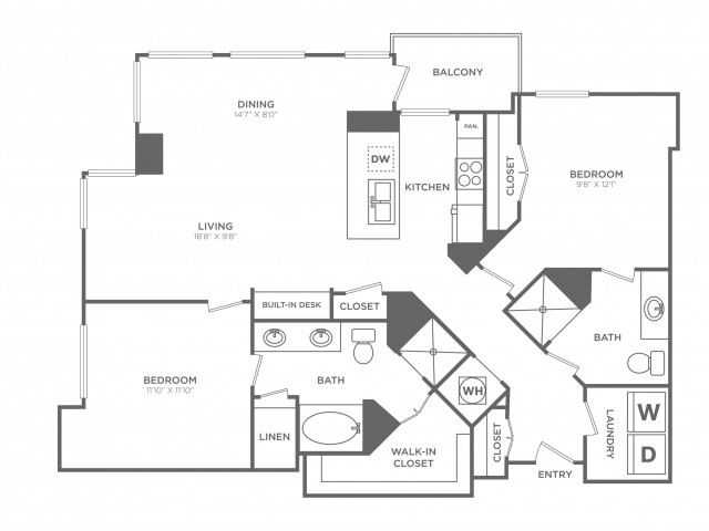 Modern | 2 bed 2 bath | from 1291 square feet