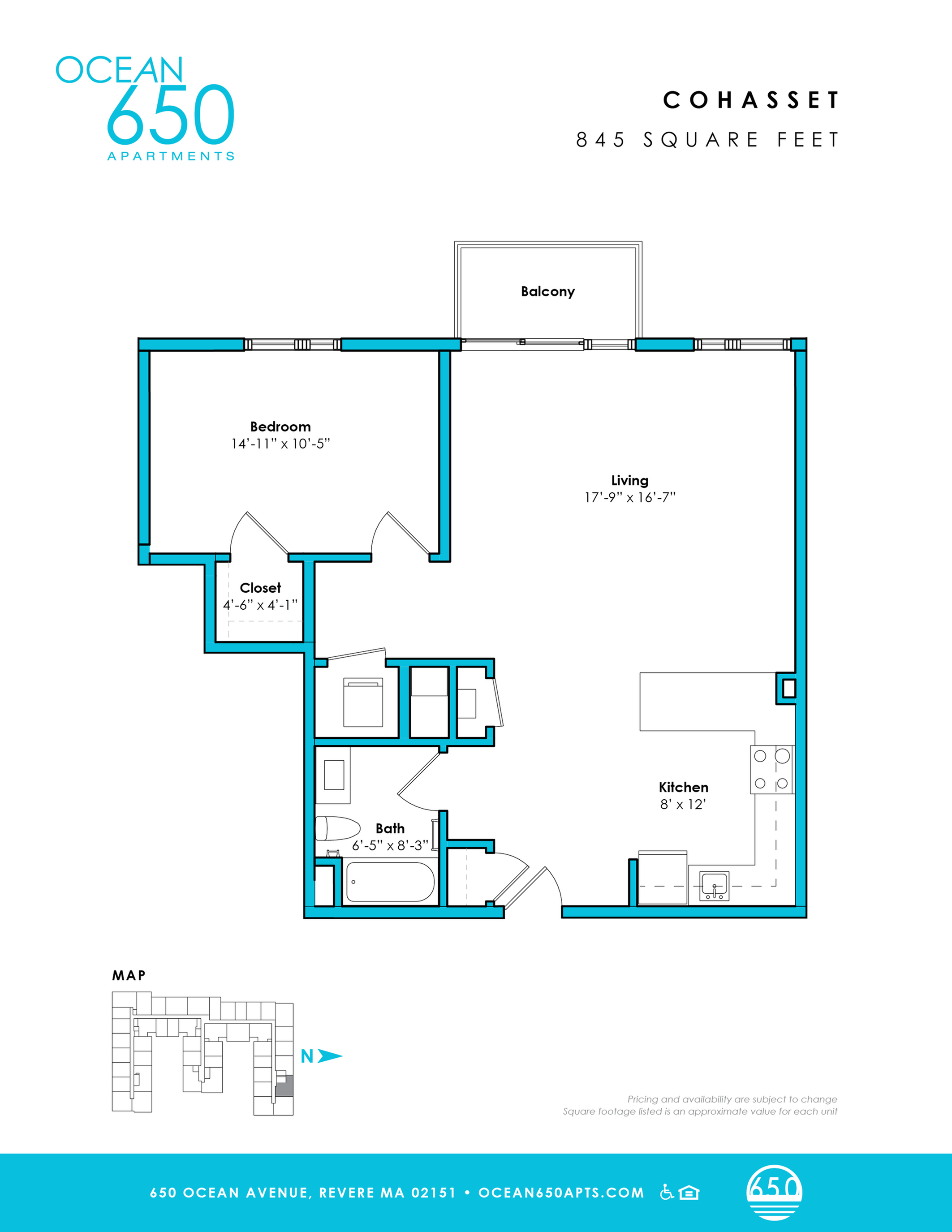 O-1B*   1 bed 1 bath   from 845 square feet