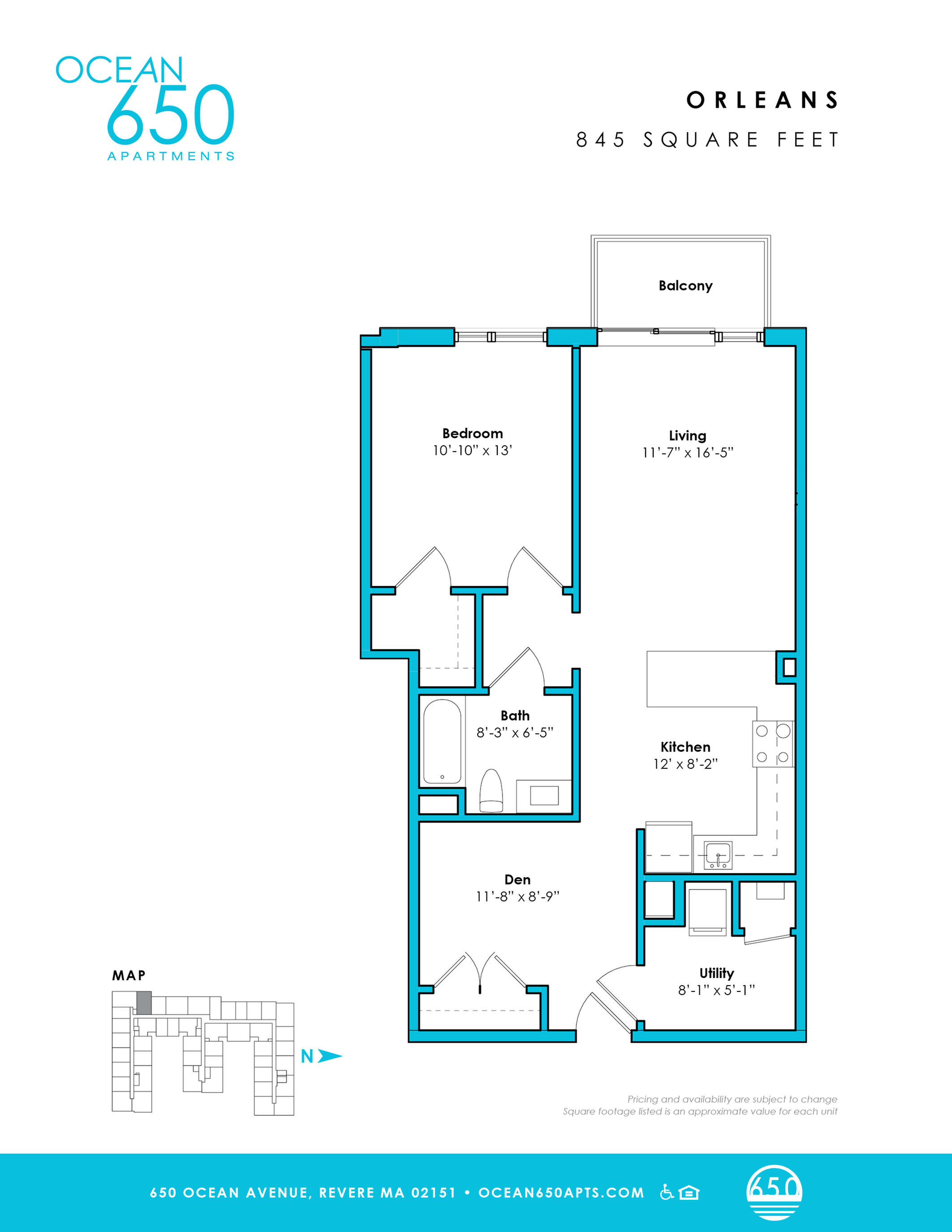 o-1c   1 bed 1 bath   from 845 square feet