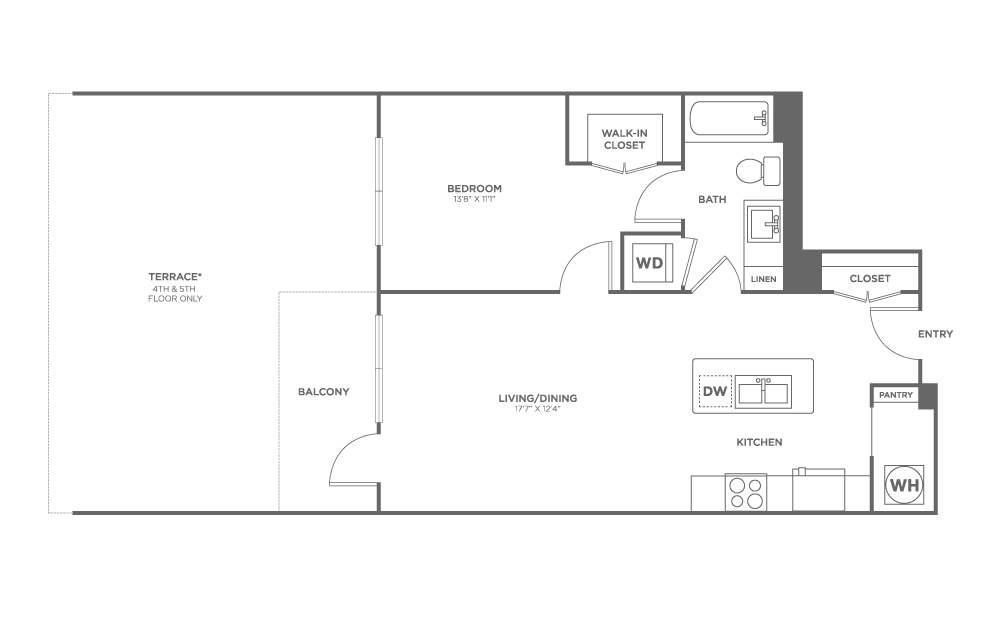 A1 | 1 bed 1 bath | from 738 square feet