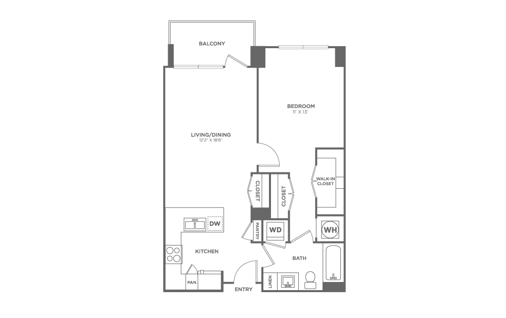 A6 | 1 bed 1 bath | from 747 square feet