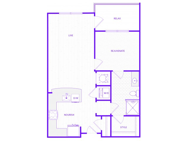 The King | 1 bed  1 bath | 784 sq ft