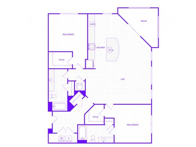 The Harris | 2 bed  2 bath | 1384 sq ft
