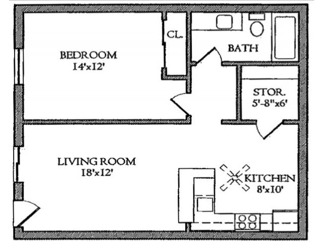 One Bedroom / One Bathroom Apartment with Open Floor Plan