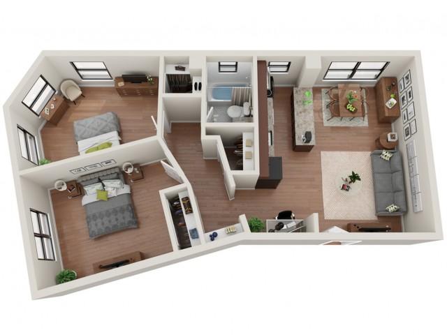 2 Bedroom Floor Plan | Apartments St Louis | Convent Gardens