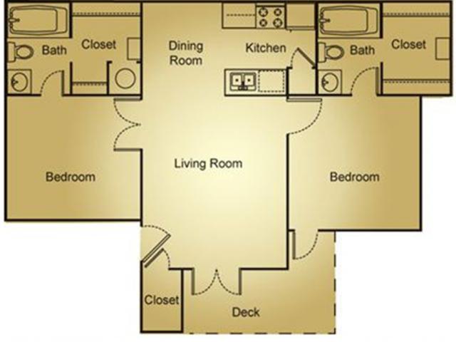 2 Bed, 2 Bath Penthouse