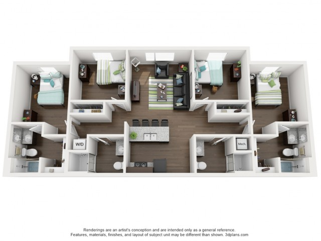 4 Bed 4 Bath XL (Actual layout has 3 bedrooms on one side of the living room and 1 on the other.