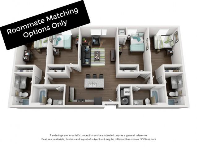 4 Bed / 4 Bath Apartment