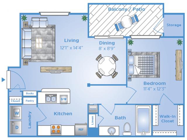 1 Bedroom Floor Plan | Apartments In Sugar Land Tx | Advenir at Milan
