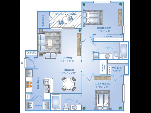 2 Bdrm Floor Plan | Luxury Apartments In Sugar Land Tx | Advenir at Milan