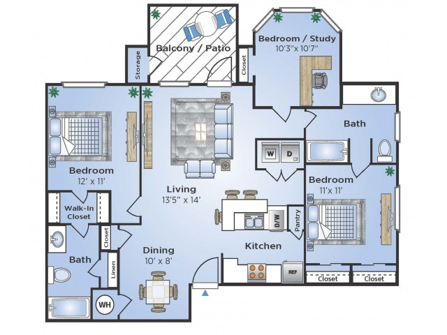 3 Bedroom Floor Plan | Houston TX Apartments Near Medical Center | Advenir at the Med Center