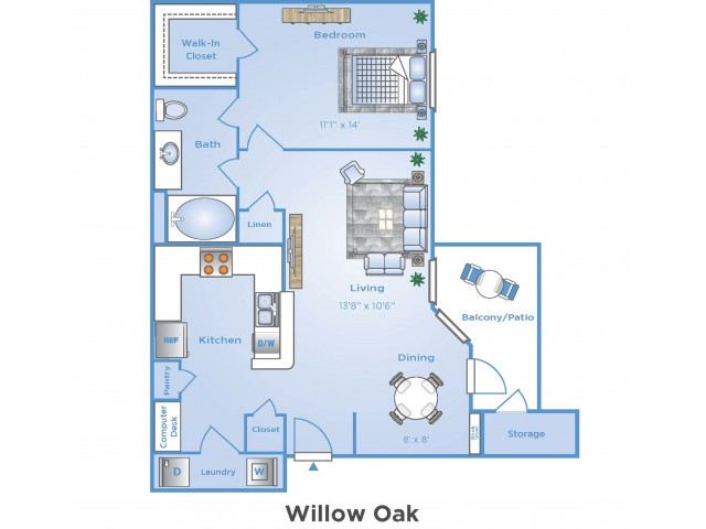 1 Bedroom Floor Plan | Apartments In Sugar Land | Advenir at Woodbridge Reserve