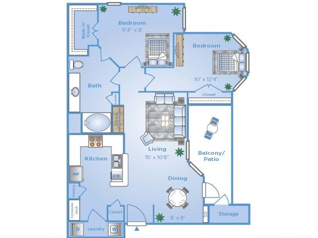 2 Bedroom Floor Plan | Apartments In Sugar Land TX | Advenir at Woodbridge Reserve