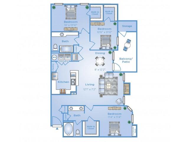3 Bedroom Floor Plan | Sugar Land Texas Apartments | Advenir at Woodbridge Reserve