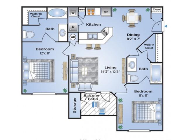 Two Bedroom Floor Plan | Apartments Southwest Houston TX | Advenir at The Med Center