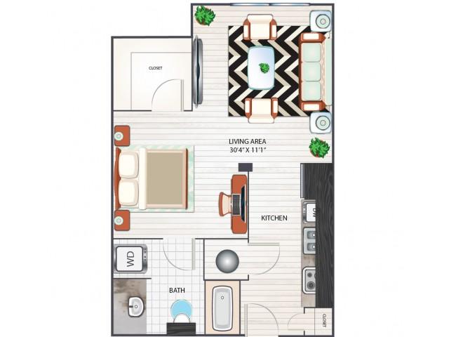 Studio Floor Plan | Apartments in West Columbia SC | Advenir at One Eleven
