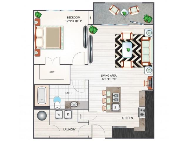 One Bedroom Floor Plan | Apartments in West Columbia SC | Advenir at One Eleven