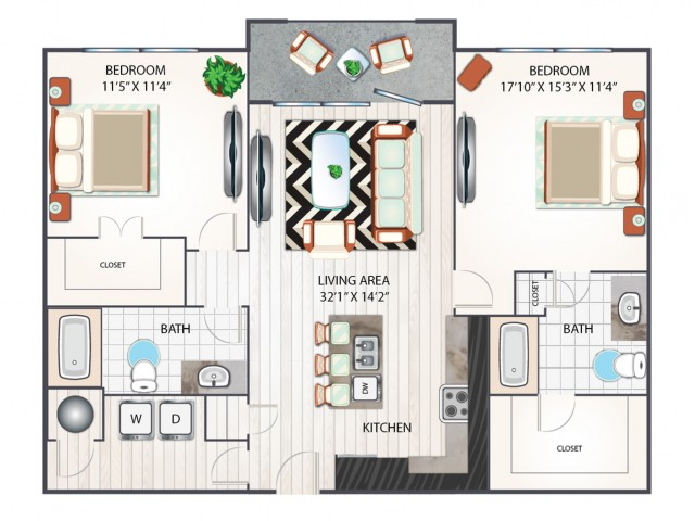 Two Bedroom Floor Plan | Apartments in West Columbia SC | Advenir at One Eleven