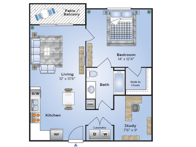 One Bedroom Floor Plan | Apartments In Birmingham AL| Station 121
