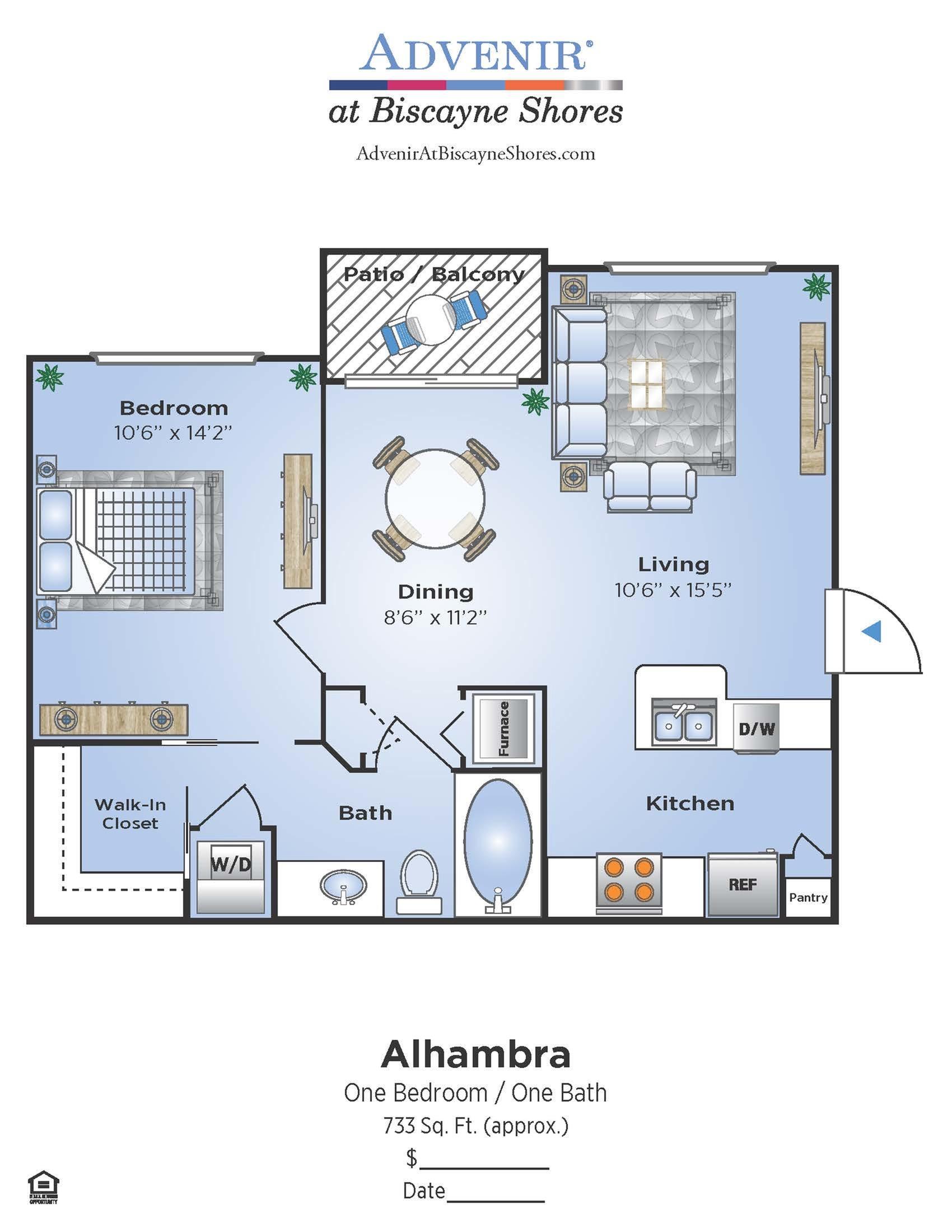 1 Bedroom Floor Plan | Apartments In North Miami | Advenir at Biscayne Shores