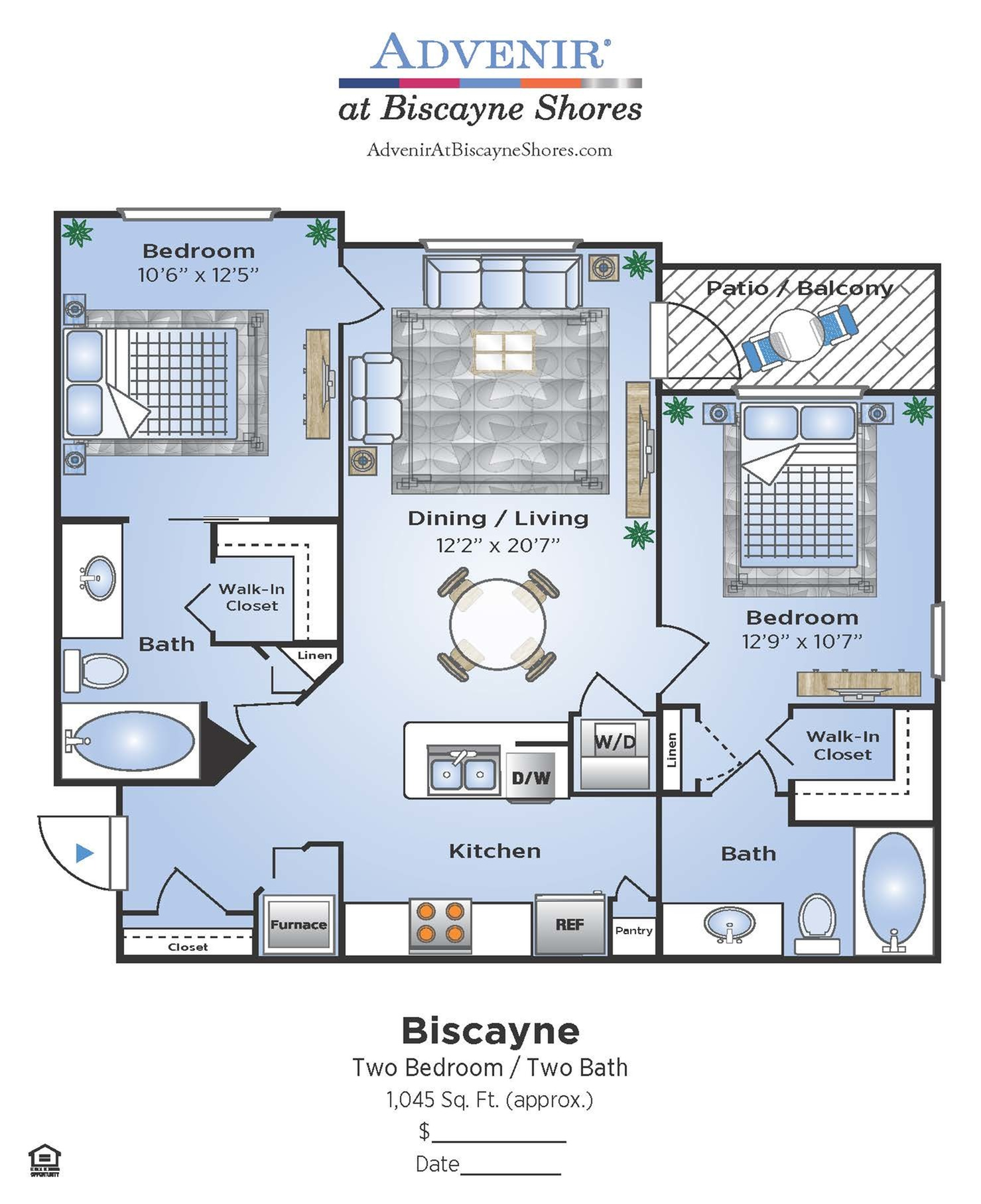 2 Bedroom Floor Plan | Miami Biscayne Apartments | Advenir at Biscayne Shores