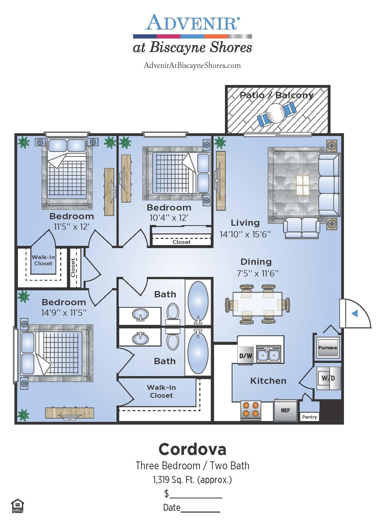 3 Bedroom Floor Plan | Biscayne Bay Miami Apartments | Advenir at Biscayne Shores