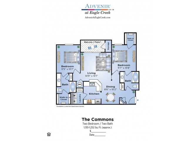 2 Bedroom Floor Plan | Apartments In Humble Texas | Advenir at Eagle Creek