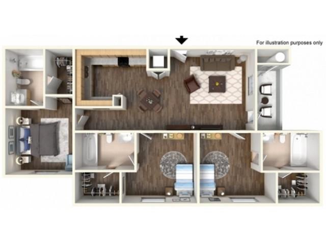 3x3F Floor Plan | University Meadows | Apartments in Mt Pleasant, MI